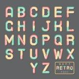 Weiche Linie Zusammenfassungs-Retro- Weinlese Hopster-Alphabet A bis z-Guss-Symbol-Ikonen-Vektor-Illustration Stockfotografie