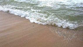 Weiche Welle des Meeres auf einem sandigen Strand mit Ton stock footage