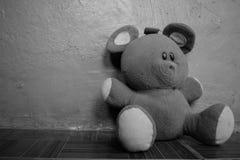 Weicher flaumiger Schwarzweiss-Teddy Bear Left Laying On der Boden stockfoto