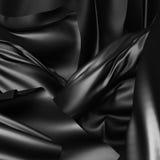 Weicher Luxushintergrund der schwarzen silk Satin-Beschaffenheit des Stoffes Lizenzfreie Stockfotografie