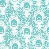 Weicher Pfau versieht nahtloses Muster des Vektors mit Federn Stockfoto