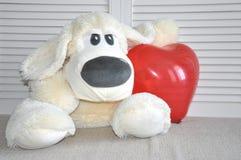 Weicher Spielzeughund haben sie ein Herz Liebe, Romance, Weichheit stockfotos