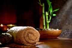 Weiches Baumwollhandtuch und Bambus-Anlage in einem Badekurort Lizenzfreies Stockbild