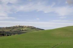 Weiches Bild des grünen Hügels, gewölbte Betrachtung des grünen Hügels Stockbilder