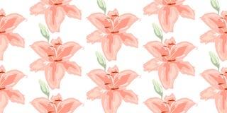 Weiches nahtloses Blumenmuster Schöne Lilienblumen auf Weiß Abstrakte Handgezogener Vektorhintergrund lizenzfreie stockfotos
