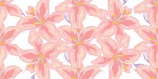 Weiches nahtloses Blumenmuster Schöne Lilienblumen auf Weiß Abstrakte Handgezogener Vektorhintergrund stockbild