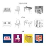Weiches Sofa, Toilettenmake-uptabelle, Speisetisch, legend für Wäscherei und Reinigungsmittel beiseite Gesetzte Sammlung der Möbe vektor abbildung