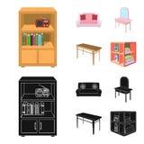 Weiches Sofa, Toilettenmake-uptabelle, Speisetisch, legend für Wäscherei und Reinigungsmittel beiseite Gesetzte Sammlung der Möbe lizenzfreie abbildung