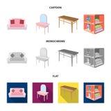Weiches Sofa, Toilettenmake-uptabelle, Speisetisch, legend für Wäscherei und Reinigungsmittel beiseite Gesetzte Sammlung der Möbe stock abbildung