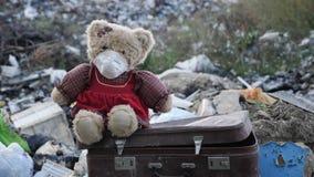 Weiches Spielzeug sitzt auf einem alten Koffer auf einer Müllkippe stock footage