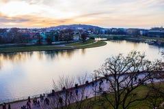 Weichsel-Ansicht in Krakau Stockfotos