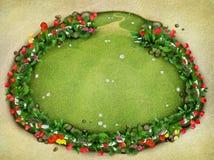 Weide met omheining en bloemen, hoogste mening Stock Foto