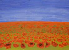 Weide met rode papavers, olieverfschilderij Stock Afbeelding