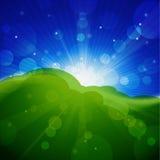 Weide met zon en blauwe hemel. stock illustratie