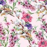 Weide, Pfirsichblume, Blumenstrauß, Aquarell, kopieren nahtloses Stockfotos