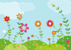 Weide van bloemen, vector   Royalty-vrije Stock Afbeeldingen