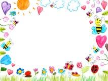 Weidegekrabbel - de achtergrond van kindtekeningen Stock Foto