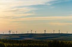 Weidemening met moderne windill in de herfst bij zonsondergang Stock Foto's