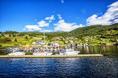Weiden en dorp op Hardanger Fiord Stock Foto's