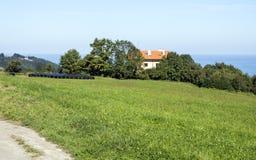 Weiden in landelijk dorp stock foto's