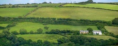 Weiden und Ackerland in den Hügeln Nationalparks Exmoor Lizenzfreies Stockbild