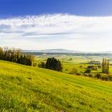Weiden und Wiesen in der Schweiz Stockfoto
