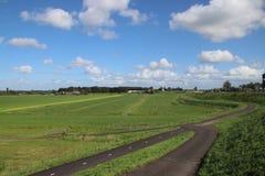 Weiden van Zuidplaspolder in Moordrecht, het laagste gebied van westelijk Europa stock afbeelding