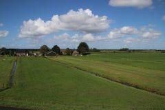 Weiden van Zuidplaspolder in Moordrecht, het laagste gebied van westelijk Europa royalty-vrije stock afbeeldingen