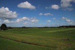 Weiden van Zuidplaspolder in Moordrecht, het laagste gebied van westelijk Europa stock afbeeldingen