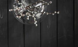 Weidenbaumaste im runden Glasvase für Ostern-deroration Stockfotografie