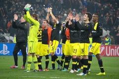 Weidenfeller en Borussia Dortmund om hun ventilators voor hun steun te danken Royalty-vrije Stock Foto's