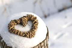 Weidenherz im Schnee Stockbilder