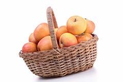 Weidenkorb mit Apfel Lizenzfreies Stockfoto