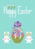 Weidenkorb mit bunten Eiern auf Frühlings-Wiese Lizenzfreies Stockbild