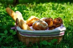 Weidenkorb mit dem Brot, das auf dem Gras steht Lizenzfreie Stockbilder