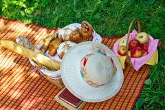 Weidenkorb mit dem Brot, das auf dem Gras steht Stockfotos