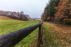 Weidenzaun und gefallene Blätter im Herbst Stockfotos