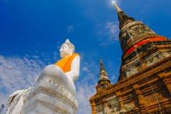 Weiße alte Buddha-Statue mit Hintergrund des blauen Himmels an Wat Yai Chai Mongkhon Old-Tempel Stockbilder