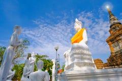 Weiße alte Buddha-Statue mit Hintergrund des blauen Himmels an Wat Yai Chai Mongkhon Old-Tempel Stockfoto