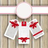 Weiße Emblem-Preis-Aufkleber Ash Wood Stockbild