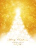 Weiße goldene frohe Weihnacht-Karte mit Baum- und Lichtexplosion Stockfotografie