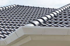 Weiße Gosse auf die Dachoberseite Stockfotos