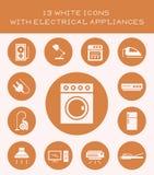 13 weiße Ikonen mit Elektrogeräten Lizenzfreies Stockfoto