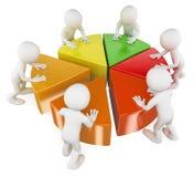 weiße Leute 3D. Team mit Kreisdiagramm Lizenzfreie Stockfotografie