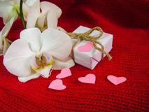 Weiße Orchidee und Geschenkbox auf einem roten Hintergrund, Valentinsgruß-Tageshintergrund Kleine Papierherzen Stockfotos