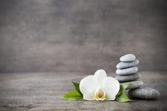 Weiße Orchideen- und Badekurortsteine auf dem grauen Hintergrund Stockfotografie