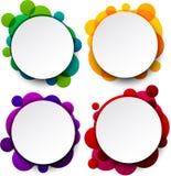 Weiße runde Sprachepapierblasen. Stockfoto