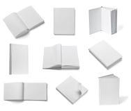 Weiße Schablone des leeren Papiers des Buchnotizbuchlehrbuchs Stockfotos
