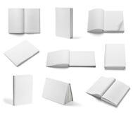 Weiße Schablone des leeren Papiers des Buchnotizbuchlehrbuchs Lizenzfreie Stockfotos