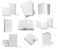 Weiße Schablone des leeren Papiers des Buchnotizbuchlehrbuchs Lizenzfreies Stockfoto